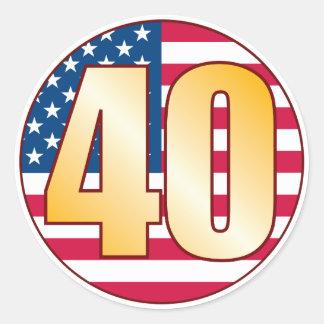 40 USA Gold Classic Round Sticker