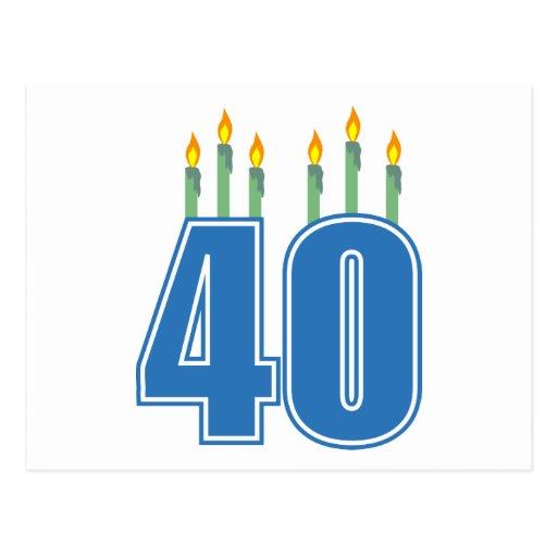 40 velas del cumpleaños (azul/verde) tarjetas postales