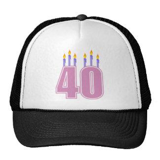 40 velas (rosa/púrpura) gorro