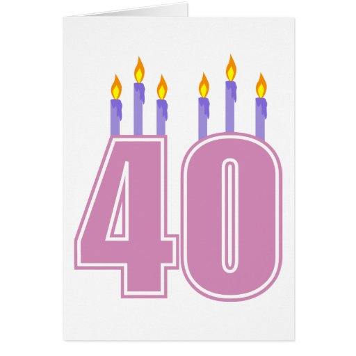 40 velas (rosa/púrpura) tarjeta de felicitación