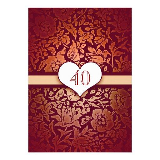 40 wedding anniversary damask red vintage invites