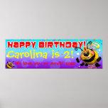 "40""x12"" GiggleBellies BeeWee Birthday Banner Poster"