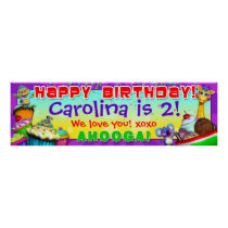 "40""x12"" GiggleBellies Cupcakes B-Day Banner Poster"