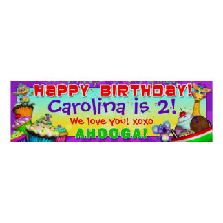 "40""x12"" GiggleBellies Cupcakes B-Day Banner Print"