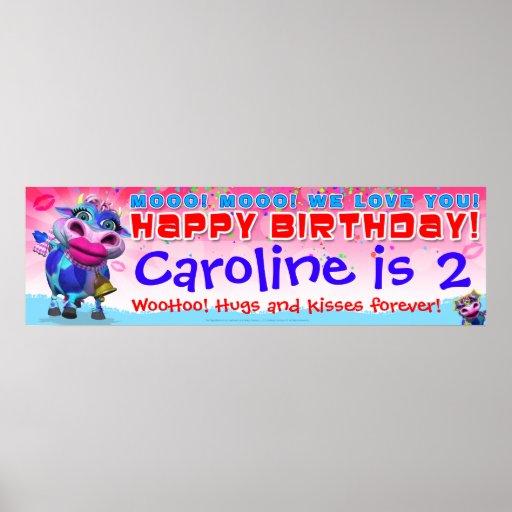 "40""x12 "" GiggleBellies Kissy Moo Birthday Banner Poster"