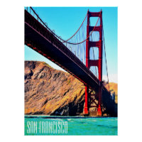 40 X 55  CANVAS GLOSS GOLDEN GATE BRIDGE POSTER