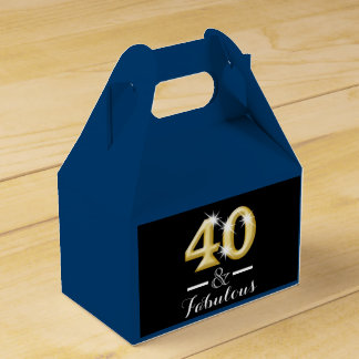 40 y cumpleaños azul fabuloso del oro cajas para regalos