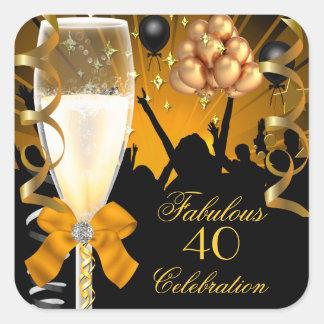 40 y cumpleaños fabuloso Champán del negro del oro Pegatina Cuadradas Personalizadas