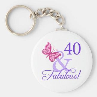 40 y cumpleaños fabuloso llaveros personalizados