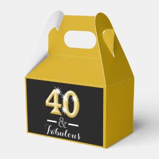 40 y cumpleaños negro fabuloso del oro cajas para regalos