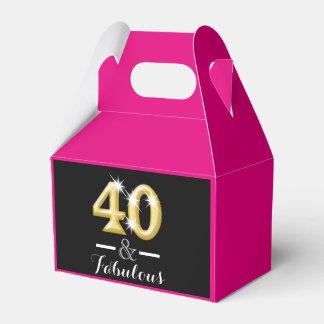40 y cumpleaños rosado fabuloso del oro cajas para regalos de fiestas