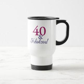 40 y fabuloso (40.o cumpleaños) taza de viaje de acero inoxidable