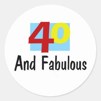 40 y fabuloso etiquetas redondas