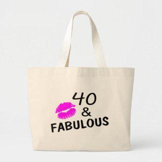 40 y fabuloso (negro y rosa) bolsas
