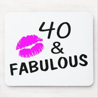 40 y fabuloso (negro y rosa) alfombrillas de ratón