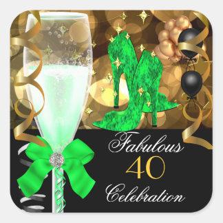 40 y fiesta de cumpleaños fabulosa del oro del neg etiqueta