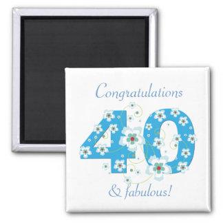 40 y imán fabuloso de la enhorabuena del cumpleaño