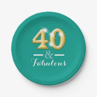 40 y oro fabuloso del trullo del cumpleaños platos de papel