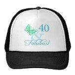 40 y regalos de cumpleaños fabulosos (aguamarina) gorro de camionero
