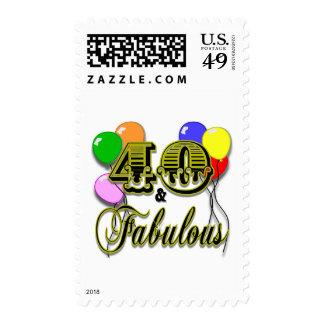 40 y regalos y ropa fabulosos de cumpleaños sellos