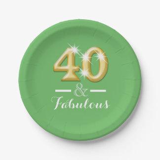 40 y verde fabuloso del cumpleaños platos de papel