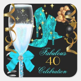 40 y zapatos azules del cumpleaños del oro del tru calcomania cuadradas