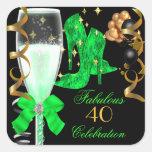 40 y zapatos fabulosos del cumpleaños del oro de v pegatinas cuadradases