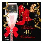 40 y zapatos negros rojos fabulosos del cumpleaños invitacion personalizada