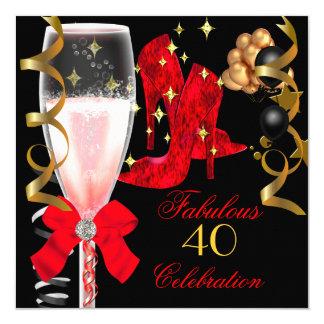 """40 y zapatos negros rojos fabulosos del cumpleaños invitación 5.25"""" x 5.25"""""""