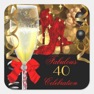 40 y zapatos negros rojos fabulosos del cumpleaños pegatina cuadrada