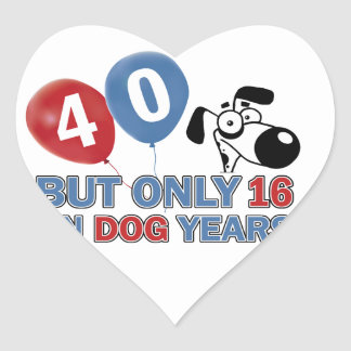 40 year old Dog years designs Heart Sticker