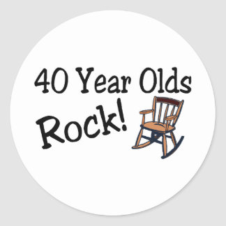 40 Year Olds Rock Rocking Chair Round Sticker