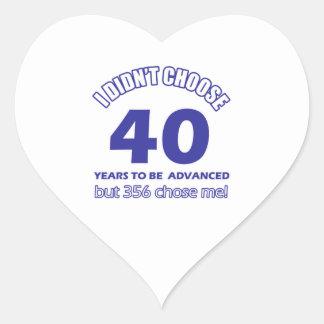 40 years advancement heart sticker