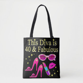 40 YEARS OLD AND A FABULOUS DIVA TOTE BAG