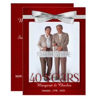 40-Years Wedding Anniversary Ruby Red and White Invitation