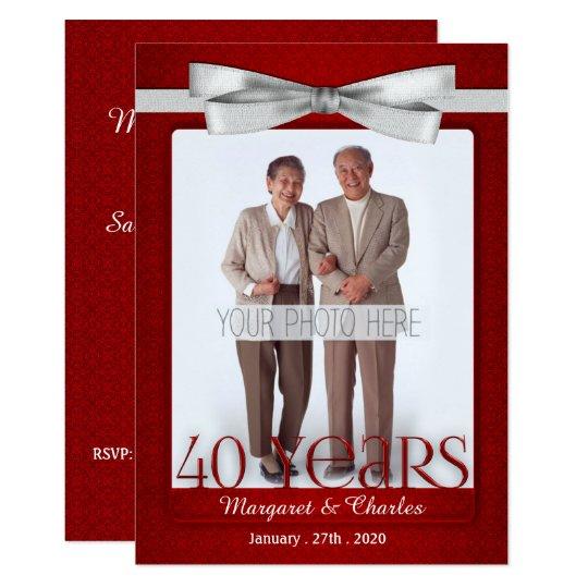 40 Years Wedding Anniversary Ruby Red And White Invitation
