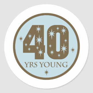 40 Years Young 40th Birthday blue Classic Round Sticker
