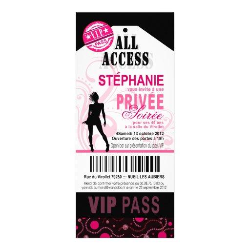 40ème fête VIP d'anniversaire personnalisée privé 4x9.25 Paper Invitation Card | Zazzle