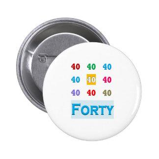 40th 40 Fortieth Anniversary Birthday ELEGANT gift 2 Inch Round Button