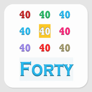 40th 40 Fortieth Anniversary Birthday ELEGANT gift Square Stickers