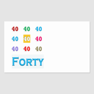 40th 40 Fortieth Anniversary Birthday ELEGANT gift Rectangle Stickers