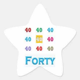 40th 40 Fortieth Anniversary Birthday ELEGANT gift Star Stickers