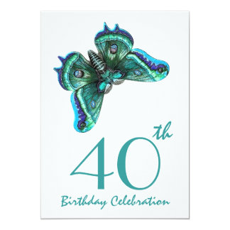 40th -49th Birthday Party Invite Blue Butterfly