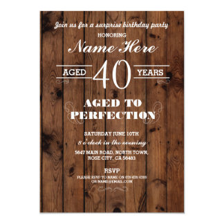 40TH 50th 60th ANY AGE BIRTHDAY PARTY WOOD INVITE