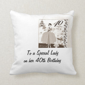 """40th AND FABULOUS BIRTHDAY PILLOW"" Throw Pillow"