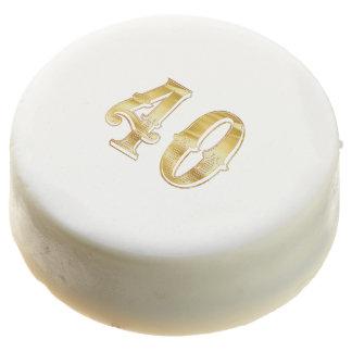 40th Anniversary 40 Birthday Gold White Cookie