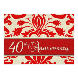 "40th Anniversary Business Announcement Red 5"" X 7"" Invitation Card"