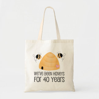 40th Anniversary Couple Gift Budget Tote Bag