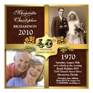 40th anniversary elegant photo invitations