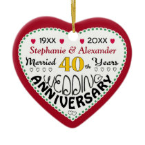 40th Anniversary gift heart shaped Christmas Ceramic Ornament